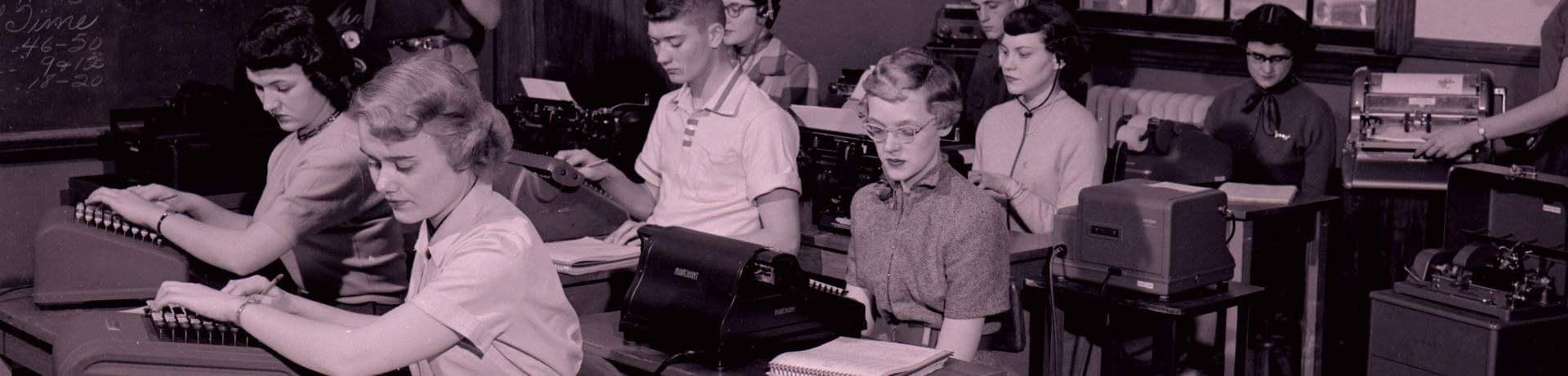 Photo of students in typing class
