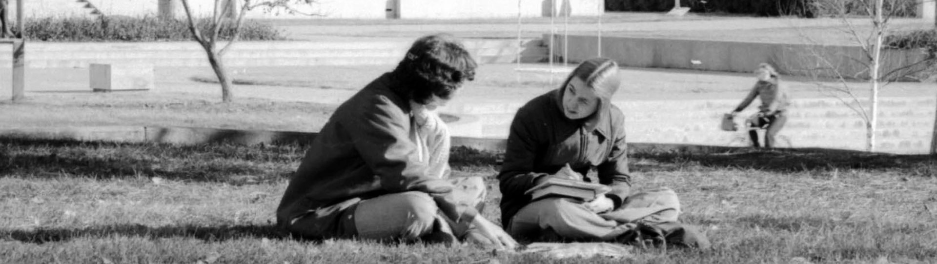 Photo of students on campus from archives and special collections