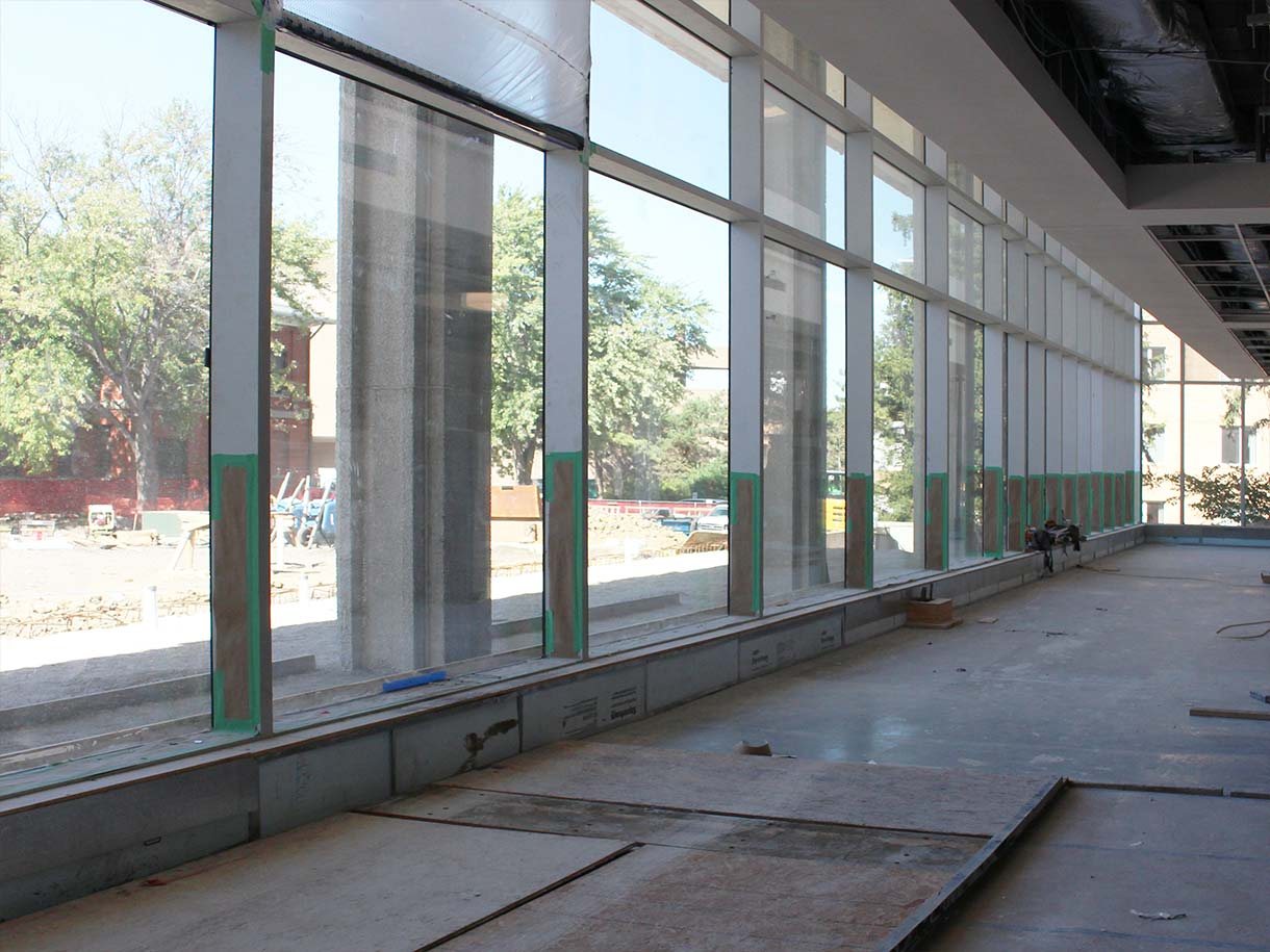 photo of main floor with view out to Miller Hall and Nebraska East Union