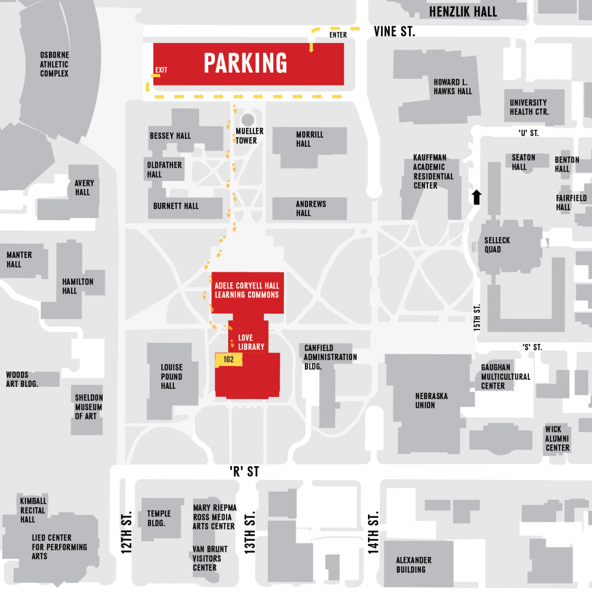Map shows a path from the parking Lot to 102 Love Library