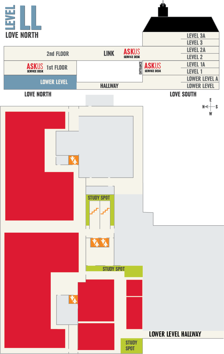 map of Lower Level in Love Library North
