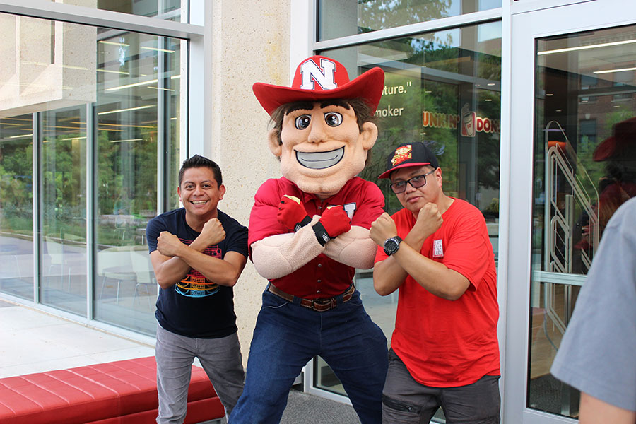 Herbie Husker and students