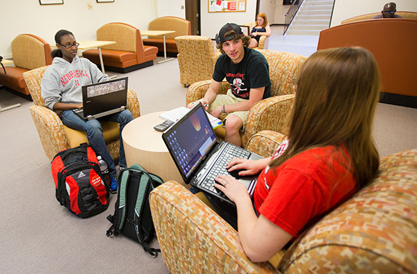 Photo of students using laptops