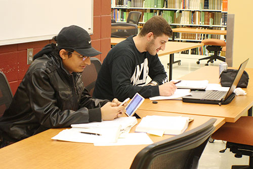 Photo of students in engineering study area