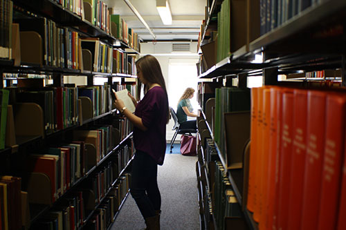 Photo of study areas in the stacks in Love Library